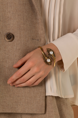 BR2907 PEARL Bracelet feathers with pearls Fiore di Firenze